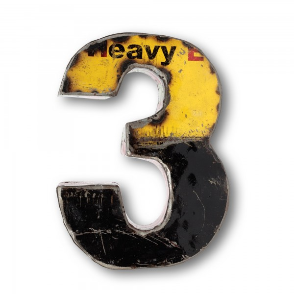 Metallziffer '3', multicolor, T 14 cm, B 18 cm, H 4 cm