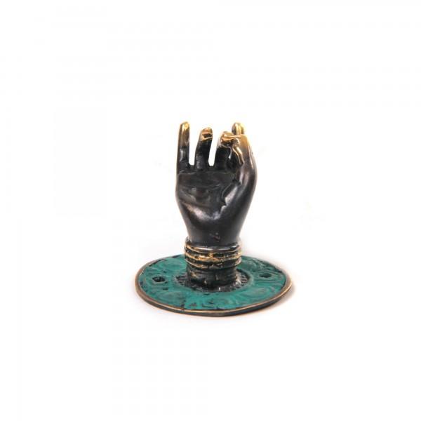 """Wandhaken """"Hand Mudra rechts"""", aus Bronze, Ø 4 cm, H 4 cm"""