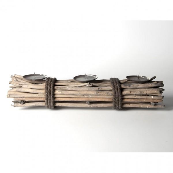 Kerzenhalter aus Weidenholz, braun, B 50 cm, H 12 cm