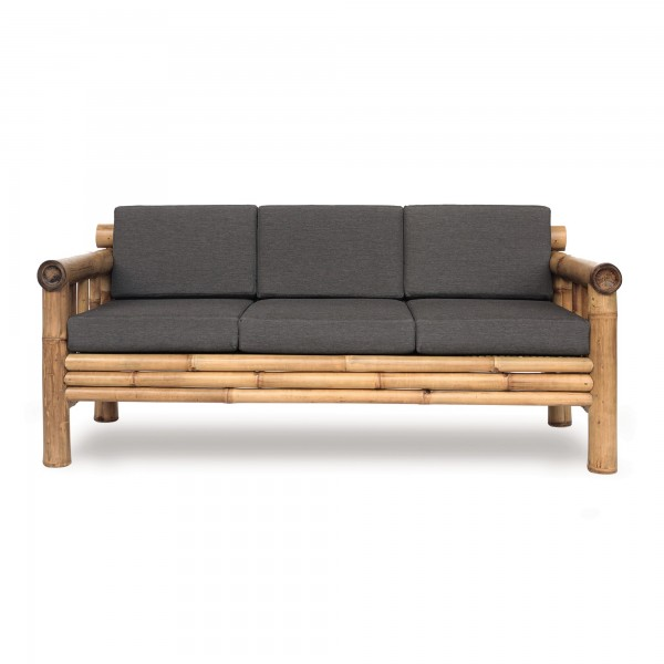 Bambusbank 'Susila' 3-Sitzer mit grauen Polstern, natur, T 85 cm, B 185 cm, H 80 cm