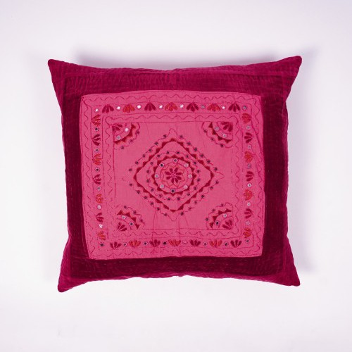 "Handbestickte Kissenhülle ""Pakka"", pink, L 60 cm, B 60 cm"