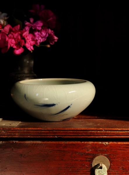 Keramikschale, weiß, blau, Ø 17 cm, H 8 cm