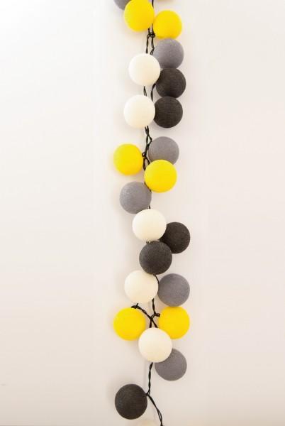 Lichterkette montiert LED, gelb, grau, Ø 8 cm, H 8 cm