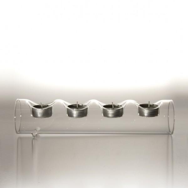 """Teelichthalter """"Tarnby"""" aus Glas, 4 Teelichter, B 29 cm, H 7 cm"""