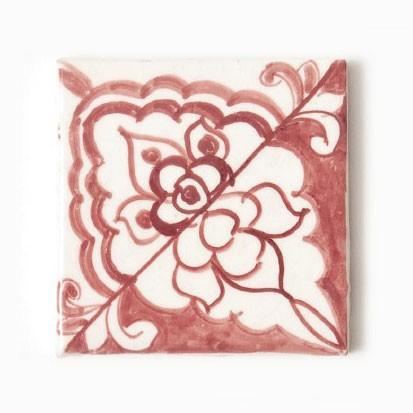 "Fliese ""rouge et blanc"", rot/weiß, L 10 cm, B 10 cm, H 1cm"