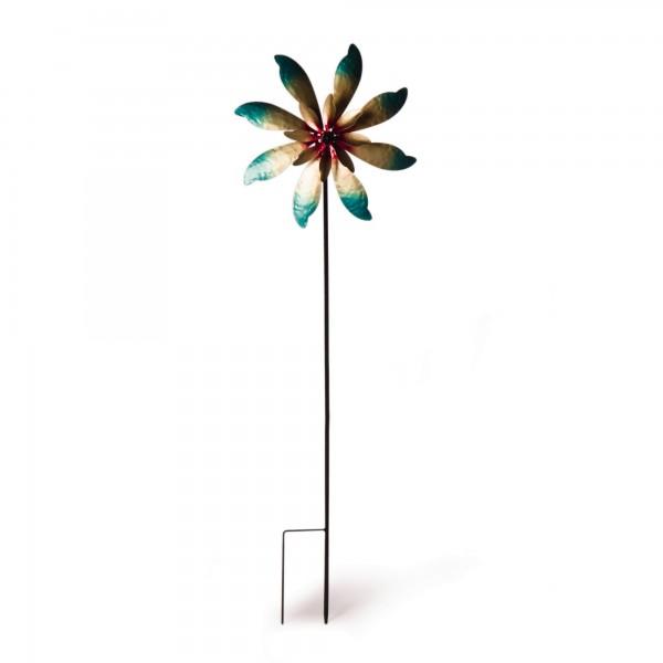 "Windrad ""Flower"", gold/türkis, Ø 38 cm, H 122 cm"
