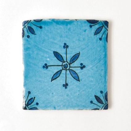 handglasierte Kachel 'turquoise', türkis, L 10 cm, B 10 cm, H 1cm