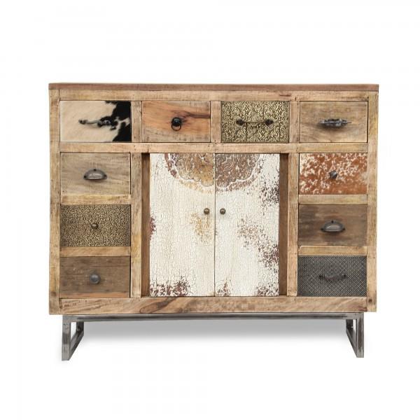 Sideboard 'Beaucoup', braun, schwarz, weiß, T 31 cm, B 108 cm, H 91 cm