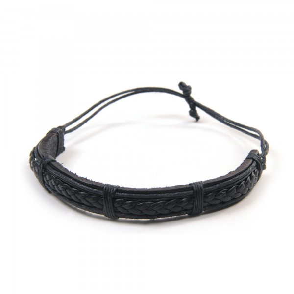 "Armband ""Josh"", aus Leder, schwarz"