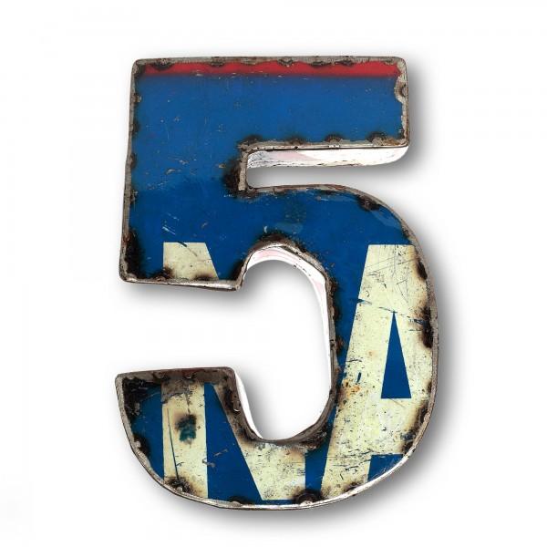 Metallziffer '5', multicolor, T 16 cm, B 19 cm, H 4 cm