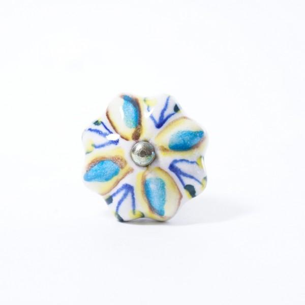 "Keramik Möbelknopf ""Blume"", handglasiert, blau/gelb, Ø 4 cm"