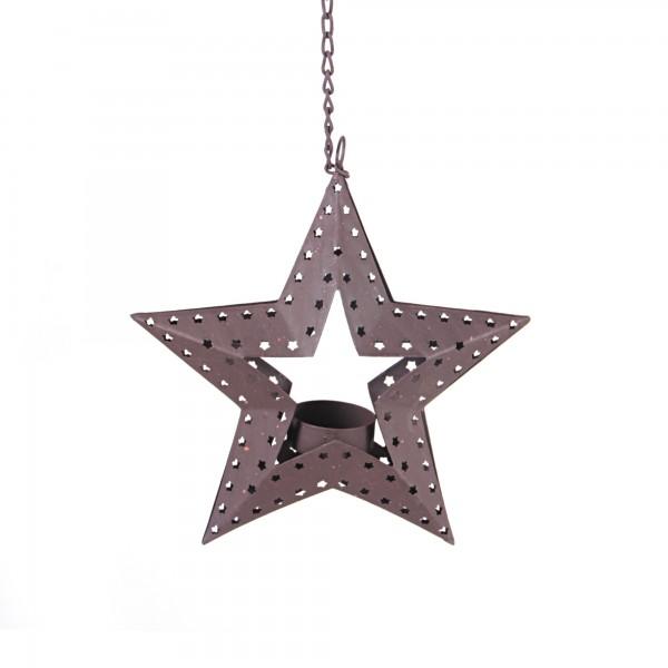 Kerze 'Stern', hängend, natur, T 5 cm, B 20 cm, H 20 cm