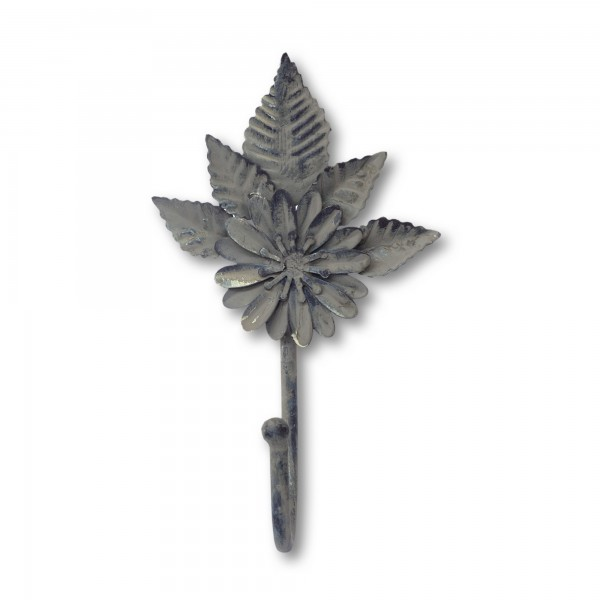 1er Haken 'Blume', grau, T 11 cm, B 16 cm
