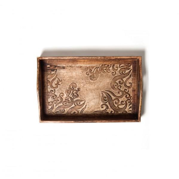 "Tablett ""Utpala"", dunkelbraun, L 23,5 cm, B 39 cm, H 5 cm"