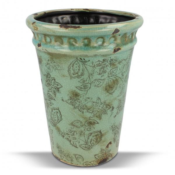 "Pflanztopf ""Chinois"" im Vintagelook, antik-grün, H 20,5 cm, Ø 15,5 cm"
