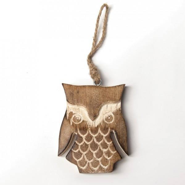 Baumanhänger 'Eule', braun, B 7 cm, H 10 cm
