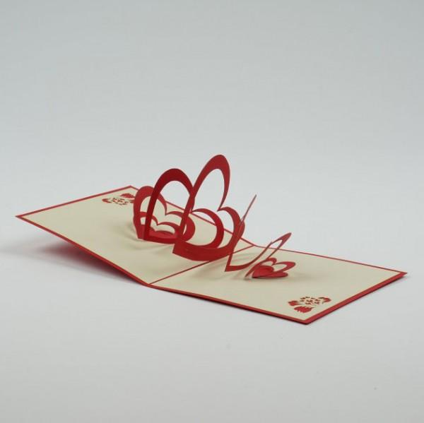 """Handgefertigte Popup Grußkarte """"Herzensangelegenheit"""", inklusive Umschlag, L 12 cm, B"""