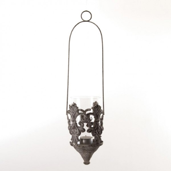 Hängewindlicht, antik-weiß, H 47 cm, Ø 10 cm