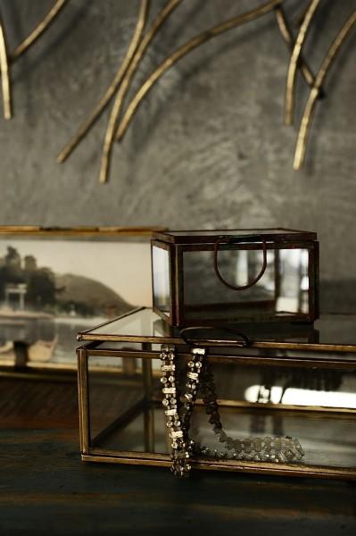 Glasbox, rost, T 8 cm, B 6 cm, H 4,5 cm