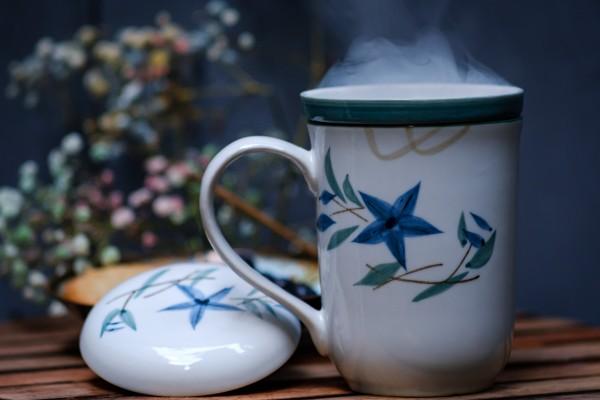 Tee Tasse 'Blossom' mit Teesieb, weiß, H 13,5 cm, Ø 8,5 cm