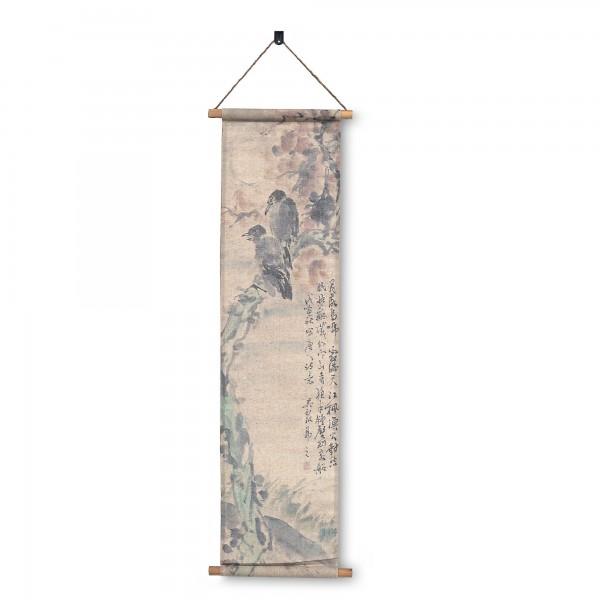 Rollbild auf Leinwand 'Bird Chat', multicolor, T 2 cm, B 32 cm, H 104 cm