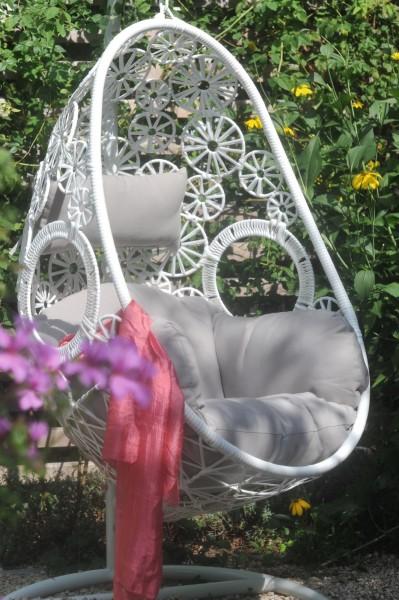 Freischaukler 'Mirella' mit Kissen, weiß grau, T 80 cm, B 65 cm, H 123 cm