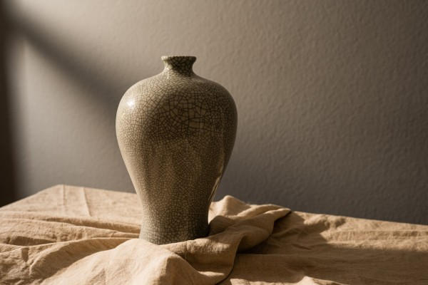 Keramikvase 'Craquelé' glasiert, grau, Ø 21 cm, H 34 cm
