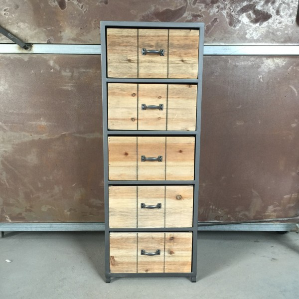 """Schubladenschrank """"Rail"""", mit 5 Schubladen, braun, T 30 cm, B 34 cm, H 92 cm"""