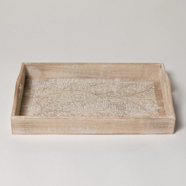 """Tablett """"Sajili"""", antik-weiß, L 39 cm, B 23,5 cm, H 4 cm"""