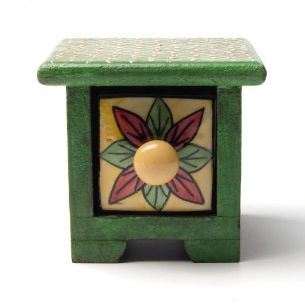 Schmucktruhe mit Schublade, grün/gelb, L 10 cm, B 10 cm, H 9 cm