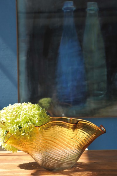 Glasschale, amber, Ø 37 cm, H 17 cm