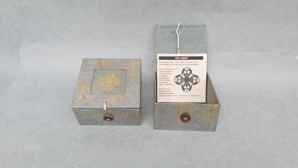 Lokta Box Peepal Vajra, grau, T 11 cm, B 11 cm, H 5,5 cm