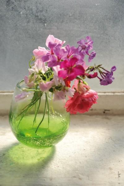 Glasvase 'Craquelle', grün, Ø 13 cm, H 15 cm