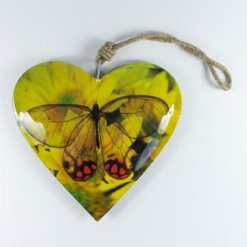 """Metallherz """"Schmetterling groß"""", gelb, B 15 cm, H 15 cm"""