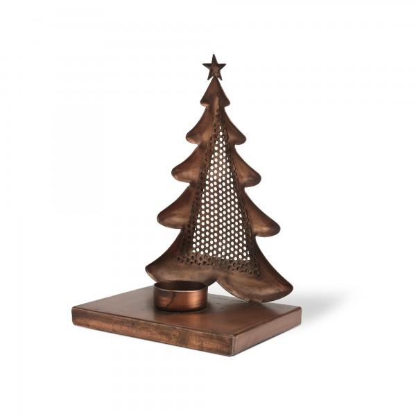 Tannenbaum-Windlicht, antik-kupfer, T 15,5 cm, B 10 cm, H 22 cm
