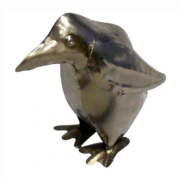 "Deko-Pinguin ""Anari"" aus Metall, silber, B 12 cm, H 19 cm"