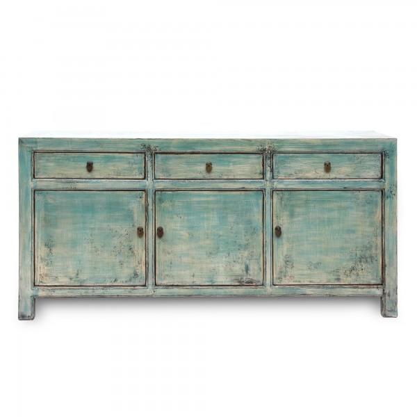 Sideboard, 3 Schubladen, 3 Türen, grün, T 42 cm, B 175 cm, H 58 cm