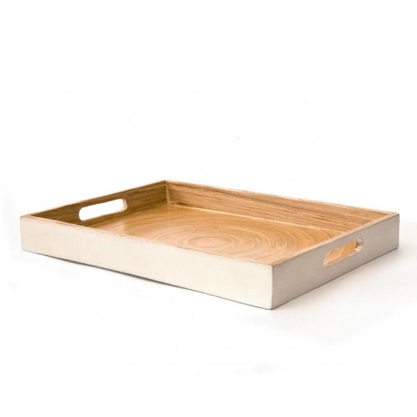 Tablett, weiß/natur, L 35 cm, B 25 cm, H 4 cm