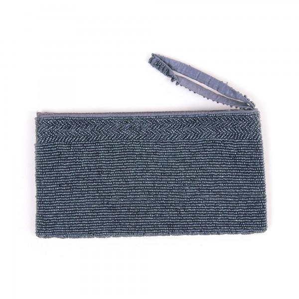 Etui aus echten Glasperlen, blau/grau, B 21 cm, H 12 cm