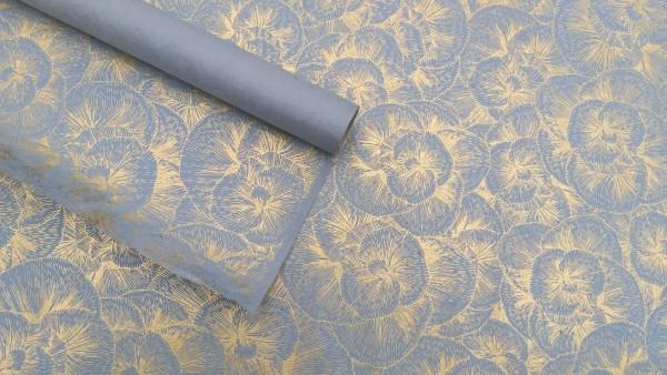 Geschenkpapier floral, hellblau, beige, T 76 cm, B 51 cm