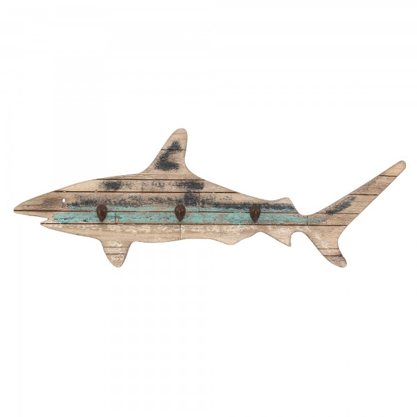3er Haken 'Hai', natur, T 10 cm, B 60 cm, H 28 cm