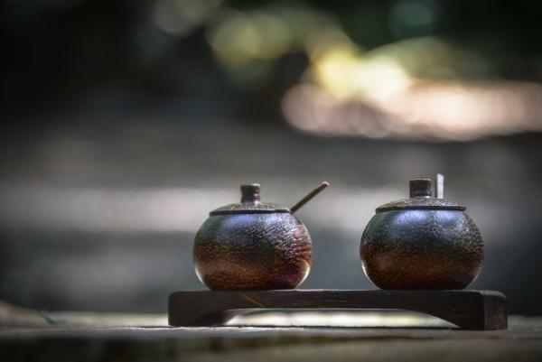 Behälter-Duo , braun, beige, T 15 cm, B 6 cm, H 7 cm