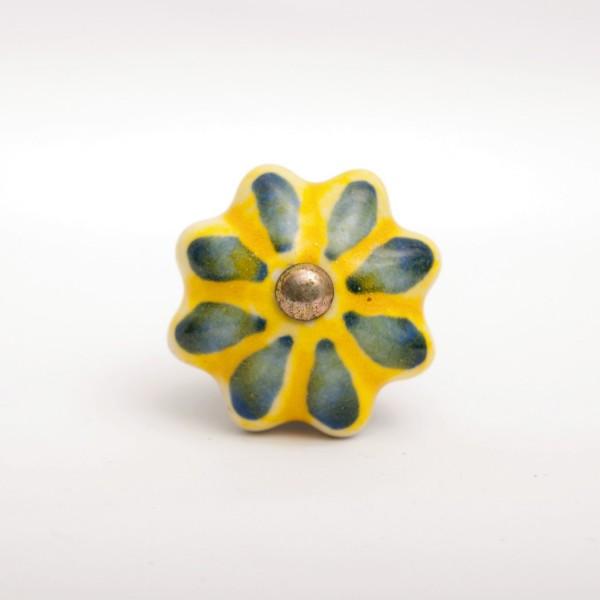 """Türknauf """"Blume"""", grün/gelb, Ø 4 cm"""