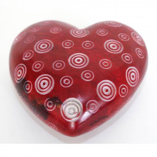 Steinherz mit Kreisen, rot, L 8 cm, B 8 cm