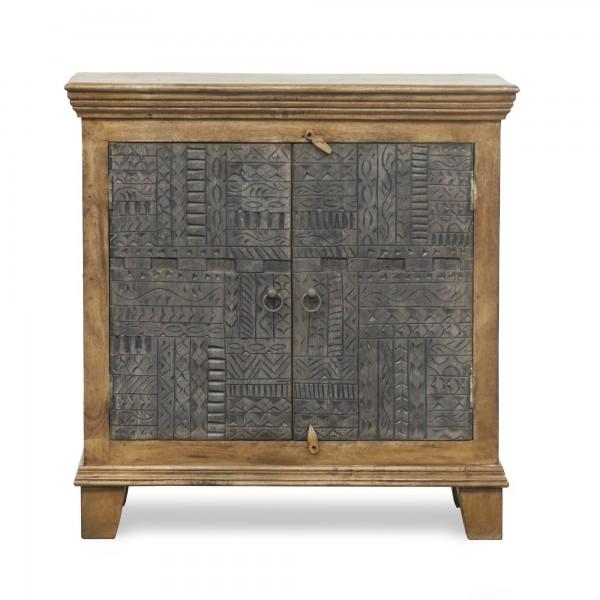Kommode 'Mirissa', 2 Türen, braun, grau, T 40 cm, B 90 cm, H 90 cm
