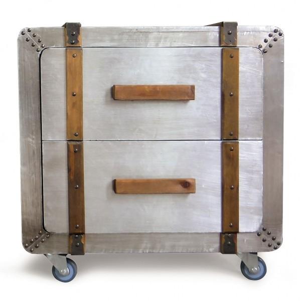 Rollcontainer 'Bolton' mit 2 Schubladen, silber, L 50 cm, B 41 cm, H 50 cm
