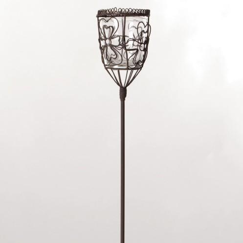 """Steckeisen """"Chateauroi"""", mit Teelichthalter aus Draht und Glaseinsatz, schwarz, H 95 cm"""