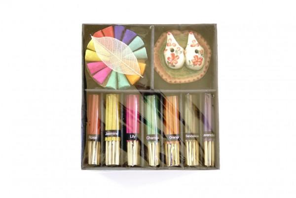 Räucher-Box mit Doppelhalter, multicolor, T 16 cm, B 16 cm, H 4 cm