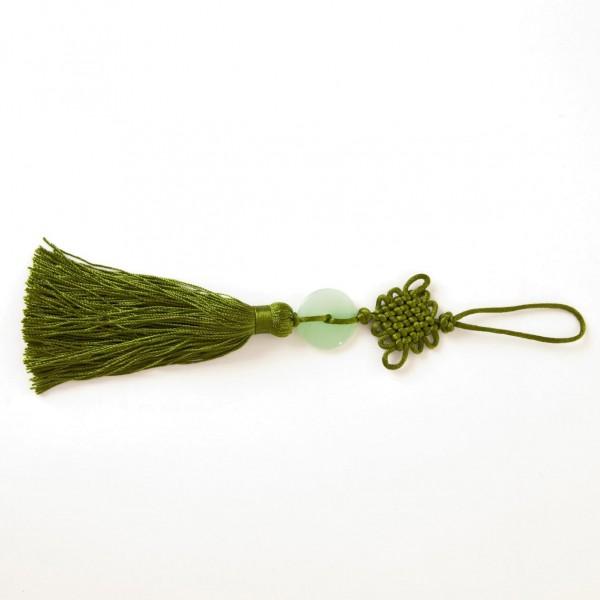 Troddeln mit Naturstein, grün, L 19 cm