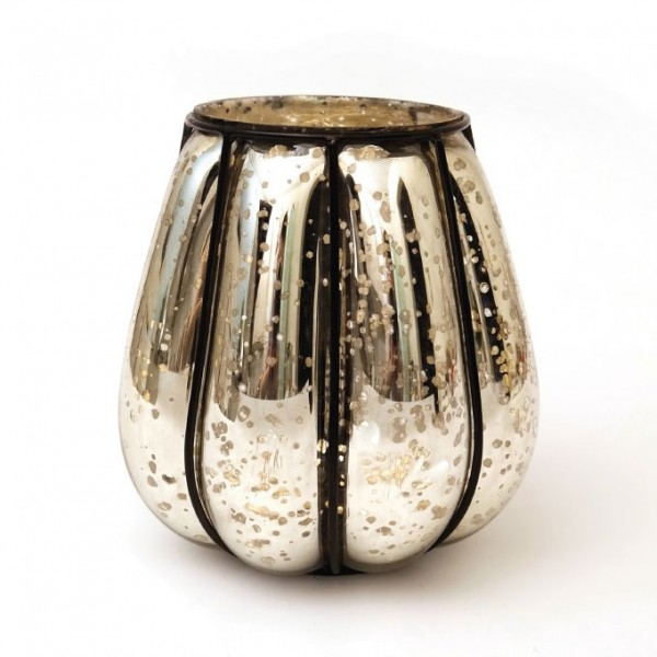 """Windlicht """"Citrouille"""" mit Metallrahmen S, silber, Ø 14 cm, H 17 cm"""